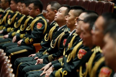 Military band members sit inside the Great Hall of the People during the ceremony to mark the 90th anniversary of the founding of the China's People's Liberation Army in Beijing, China, 1 August 2017 (Photo: Reuters/Damir Sagolj).