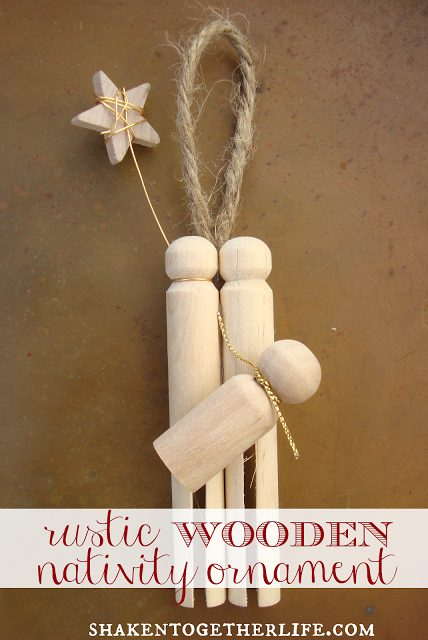 Christmas decorations - rustic style wooden peg nativity ornament you can make yourself