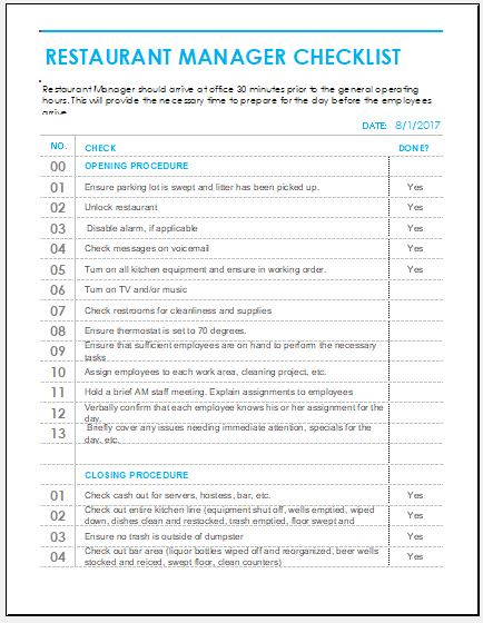 Restaurant Cleaning Checklist for MS Excel  Word  Excel Templates