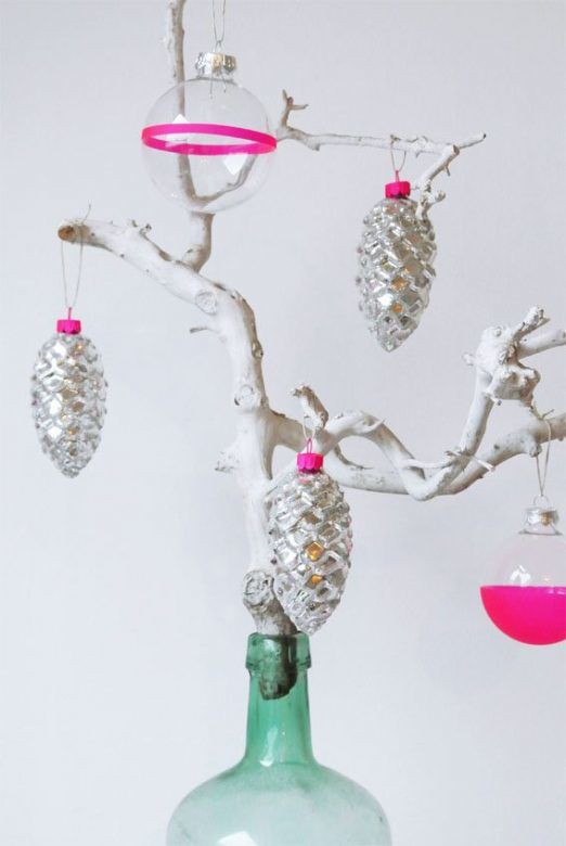 Christmas decorations ... add your own neon touches to plain baubles