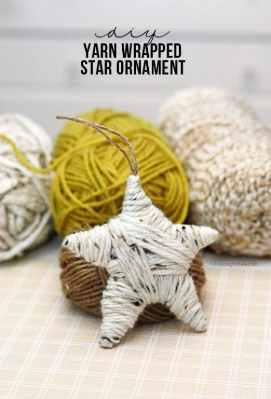 Homemade Christmas decorations ... yarn star