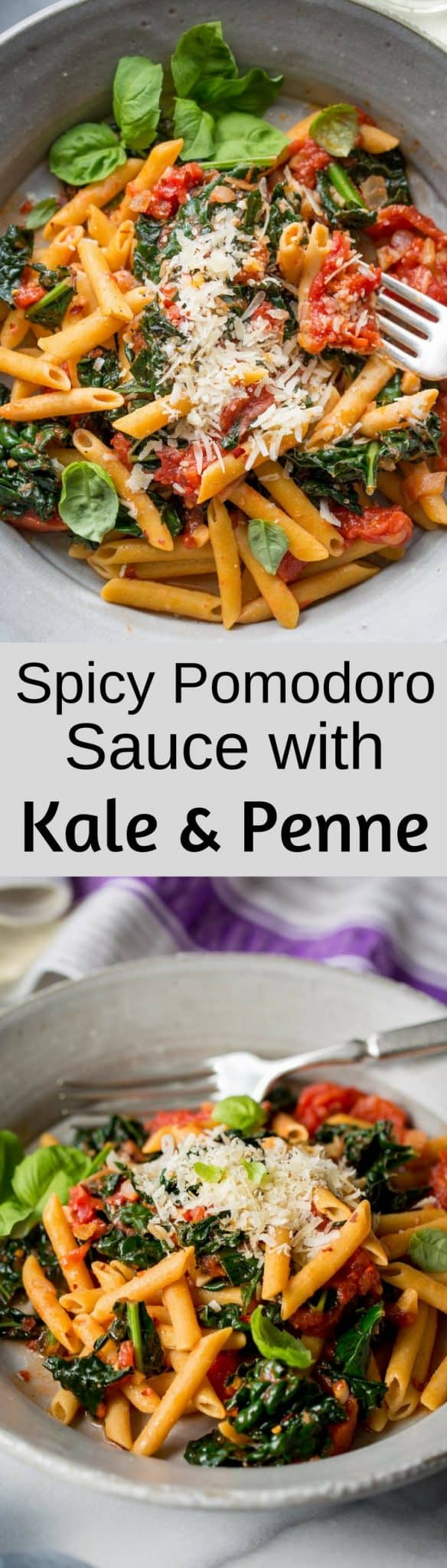 Spicy Pomodoro Sauce with Kale & Penne - Saving Room for