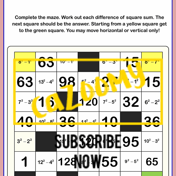 Magic Squares Worksheet Negative