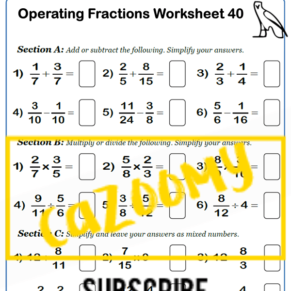 Operating Fractions Worksheets