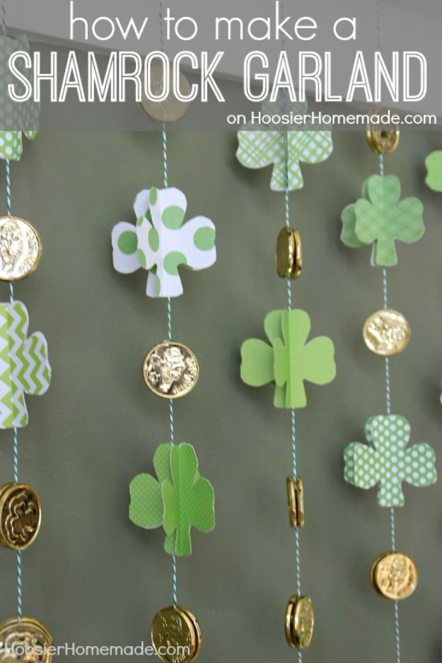 St Patricks Day Decor Ideas - Paper Shamrock And Gold Coin Garland - DIY St. Patrick's Day Party Decorations and Home Decor Crafts - Projects for Walls, Hanging Banners, Wreaths, Tabletop Centerpieces and Party Favors - Green Shamrocks, Leprechauns and Cute and Easy Do It Yourself Decor For Parties - Cheap Dollar Store Ideas for Those On A Budget http://diyjoy.com/diy-st-patricks-day-decor