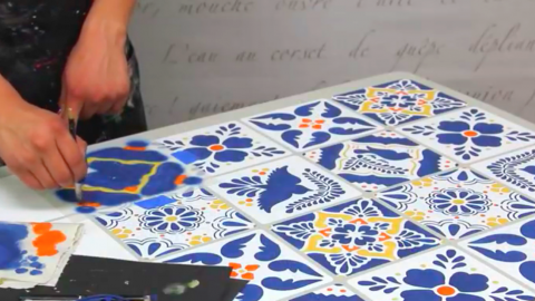 she stencils mexican talavera tiles by