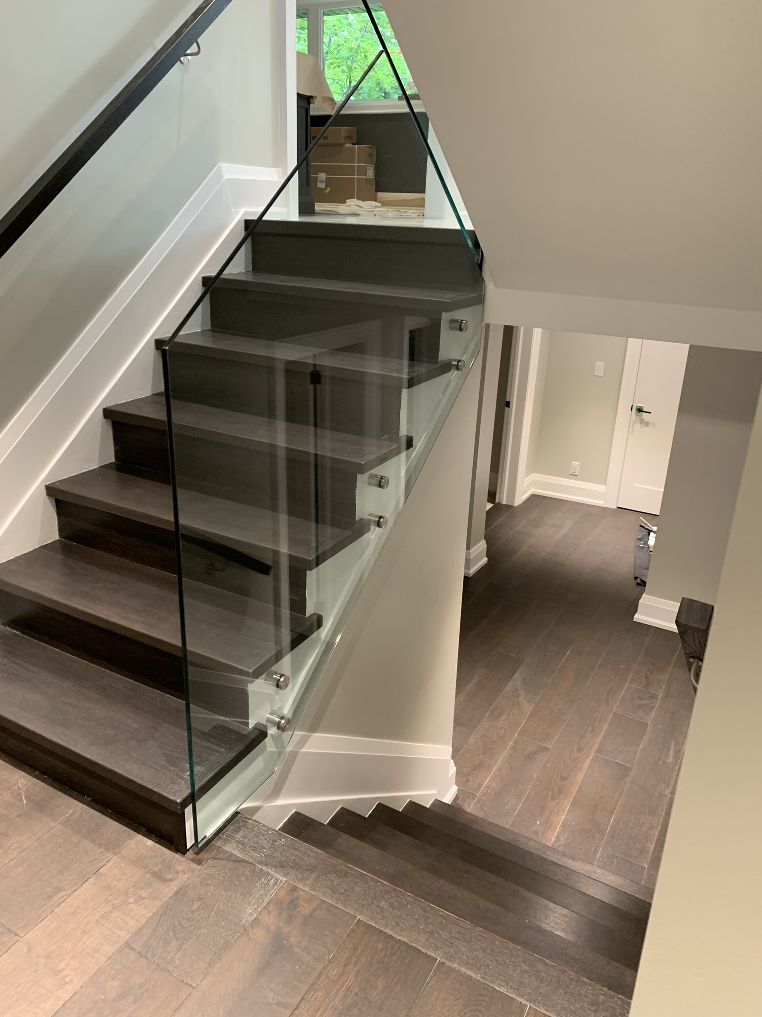 Elite Railing Systems Modern Stairs Glass Railings Installation   Wooden Handrail With Glass   Contemporary Wood Glass   Oak   Timber   Staircase   Steel