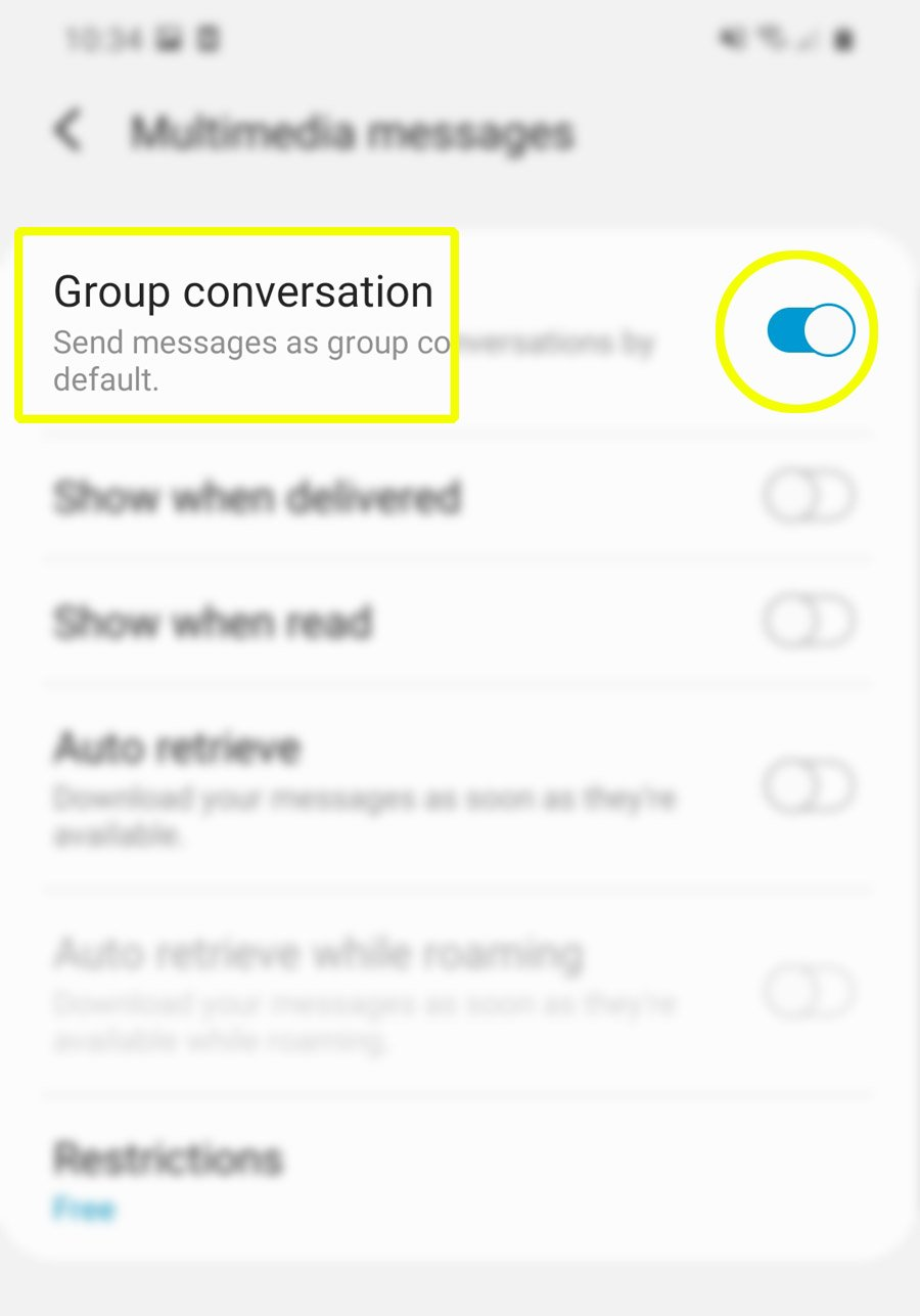 send messages on galaxy s20 as group conversations - turn on GC