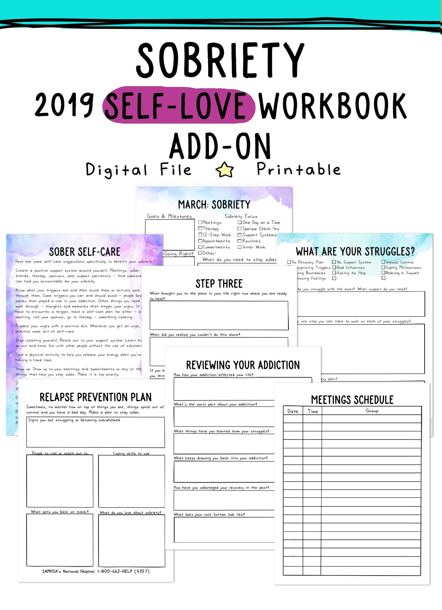 Self Love Workbook And Planner Add Ons