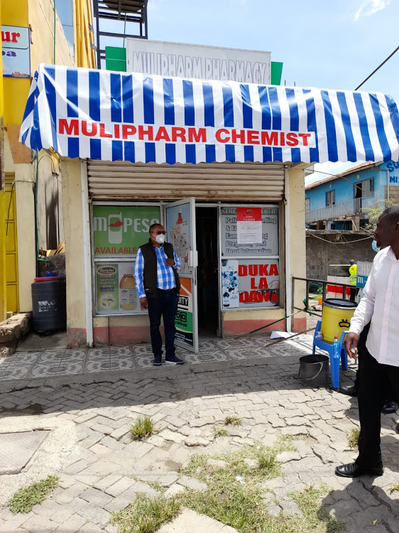One of the 95 illegal pharmacies shut by inspectors from the Pharmacy and Poisons Board during a crackdown in Lower Eastern region in the ongoing inspection [Photo/Courtesy]