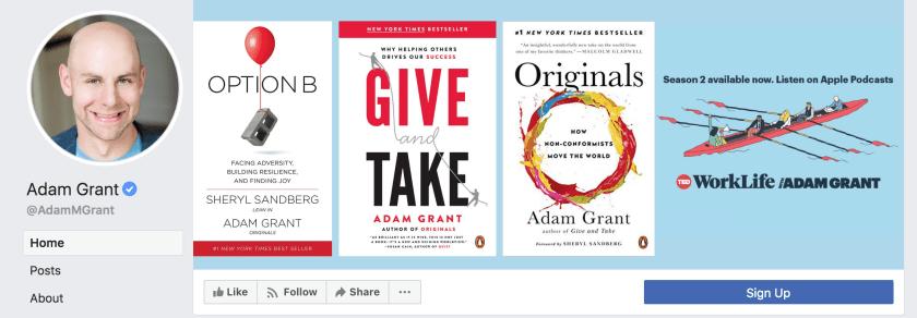 Adam Grant's Facebook author page