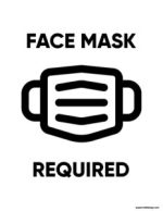 Covid sign with a face mask picture that says face mask required