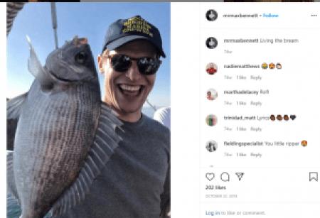 Max Bennett enjoying his free time by fishing.
