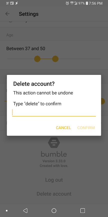 Delete Your Bumble Account