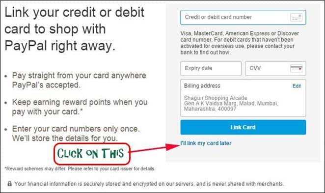 paypal credit card link