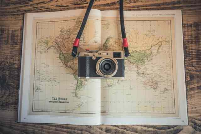 cameras for travel - camera on a map
