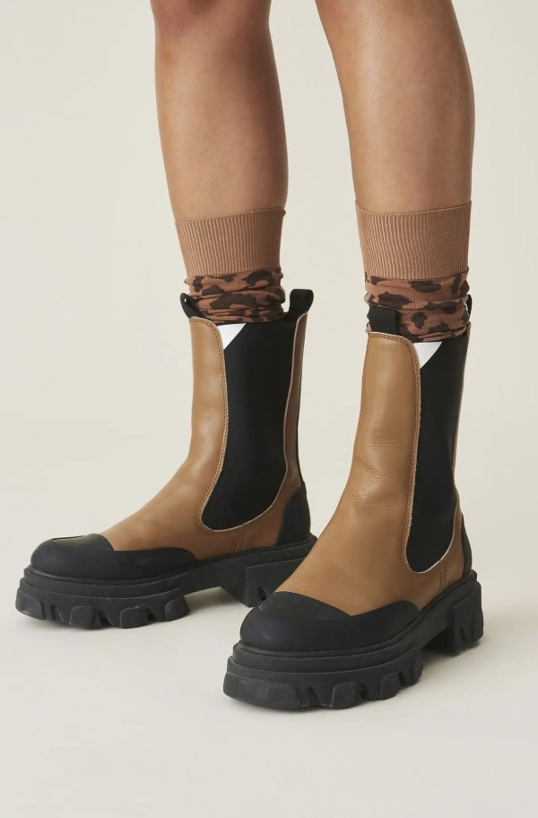 Calf Leather Mid Chelsea Boot, in colour Tiger's Eye - 3 - GANNI