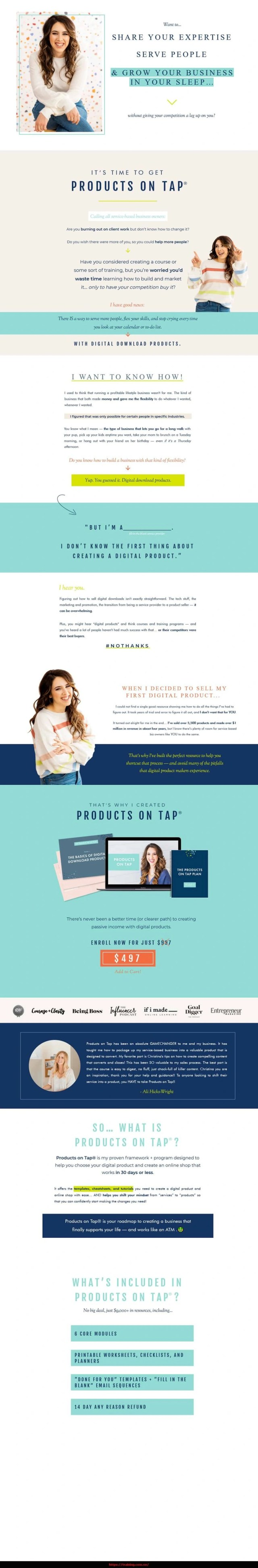 Products on Tap 2.0 by Christina Scalera sales page
