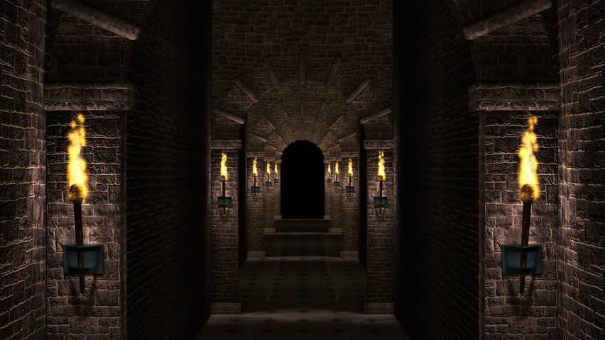 Scary Dungeon Corridor Stock Footage Video 5480024