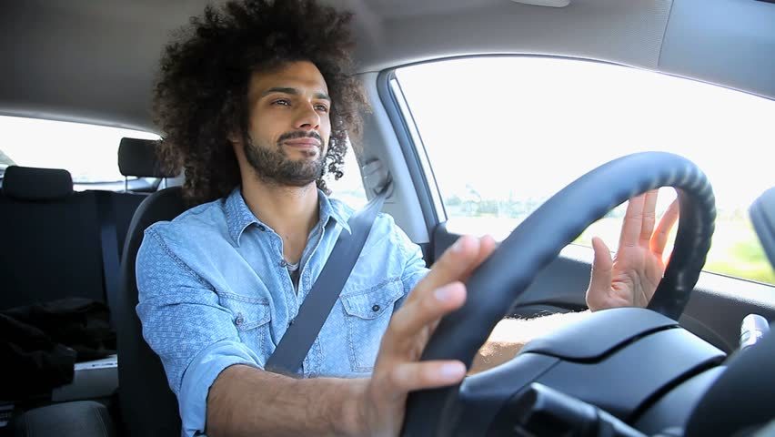 Sad Serious Handsome Man Driving Car Stock Footage Video
