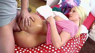 Blonde teen Lilith having anal sex image