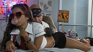 Image: Petite Lupe Fuentes in action. Facial cumshot