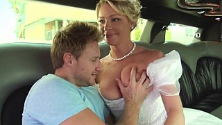 Bride in white beautiful dress gets fucked image
