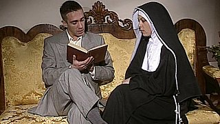 Shy Nun gets her ass fucked and face spermed image