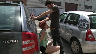 Image: Redhead Euro girl gets fucked hard in public