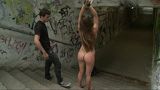 Big natural titted euro girl gets pounded in a public image