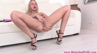 Big taco blonde in sexy lingerie pissing image
