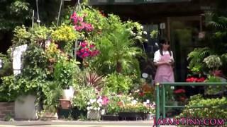 Petite Japanese flower shop girl hairy pussy bange image