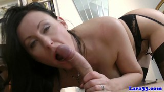 Euro mature in lingerie gets cum on ass after sex image
