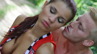 She is so confident that she challenges a guy on a sport bike to race, but he is not going to... image