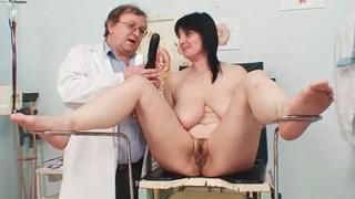 Image: Big tits plump milf Zora hairy pussy inspection