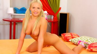 Fresh blondie gags on cock savagely and rides it image