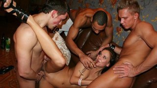 Threesome orgy at student sex party image