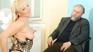Mature older blonde anal bead play image