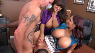 Two busty moms Ava Addams and Lisa Ann having office sex image