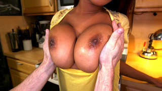 Image: Sierra Santos lets him play with her big natural tits