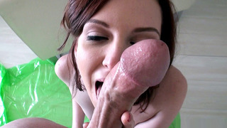Image: Teen cutie Emma Evins slurps up a man's dong in POV
