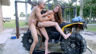 Dillion Carter bents over_the four-wheeler and takes deep pussy penetration image