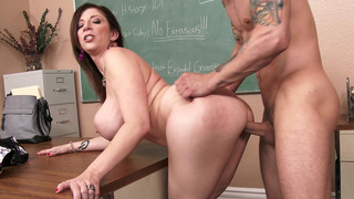 Image: Sex hungry teacher Sara Jay has her student fuck her slit