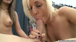 Two horny babes Brooklyn Dayne and Diana presenting me amazing blowjob in the shoe store image