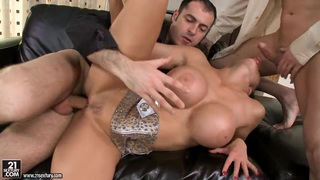 Super buxom sex bomb Aletta Ocean in the exciting threesome action image