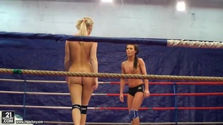 Topless teen chicks in a nude fight club video image
