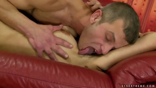 Susy is having her hairy cunt licked out image