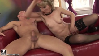 Horny old lady Margarette fucks with a younger man image