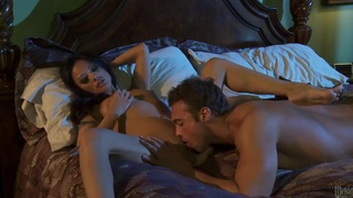 Asian beauty Kaylani Lei gets her clean pussy banged in the dark image