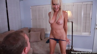 Nice blonde Erica Lauren is doing a blowjob and after it give in ass image
